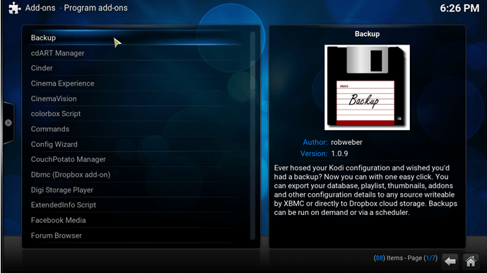 kodi windows backup