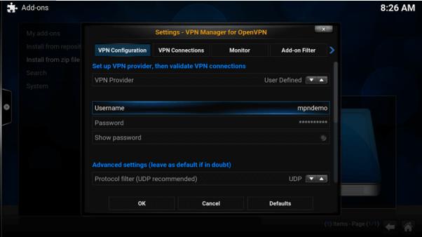 libreelec openvpn setup