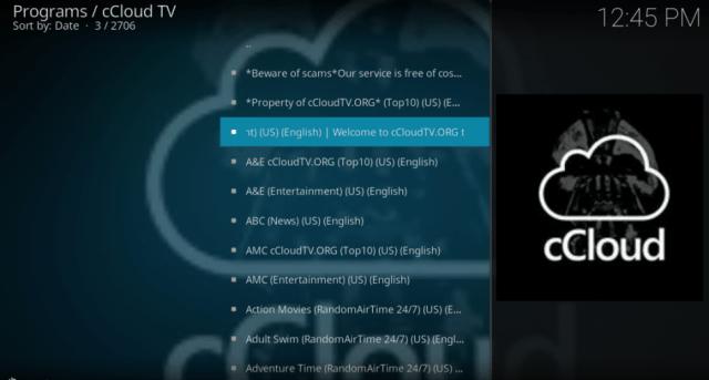 ccloud tv programs on kodi