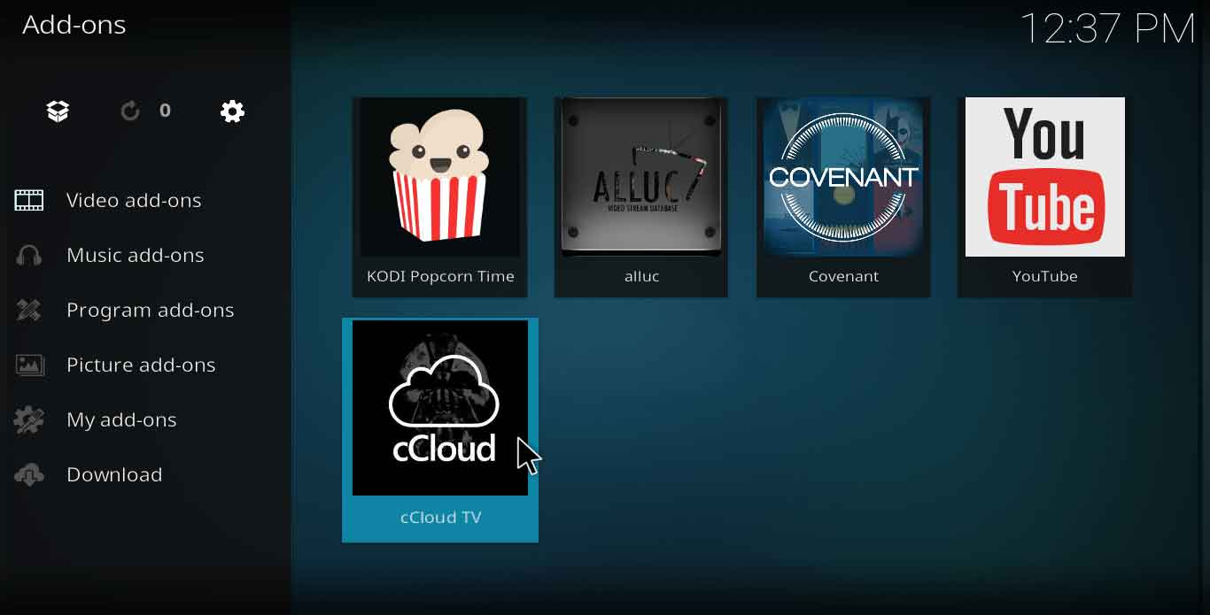 how to add ccloud on kodi jarvis version 16 or higher