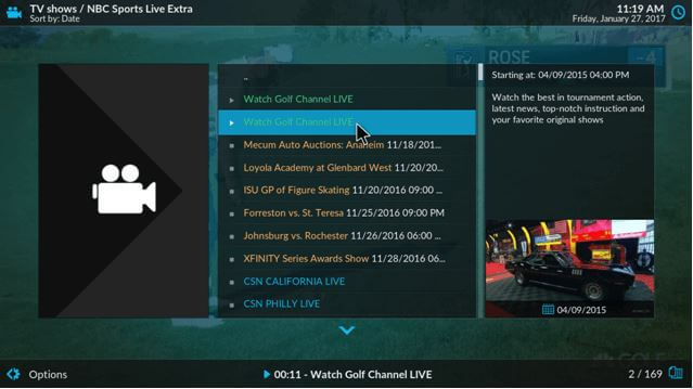 kodi golf channel