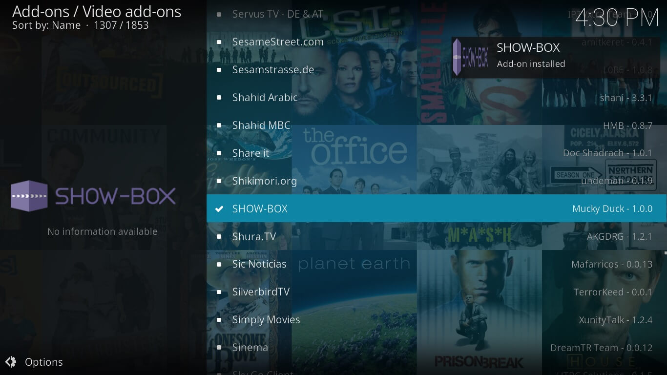 showbox video configuration on kodi