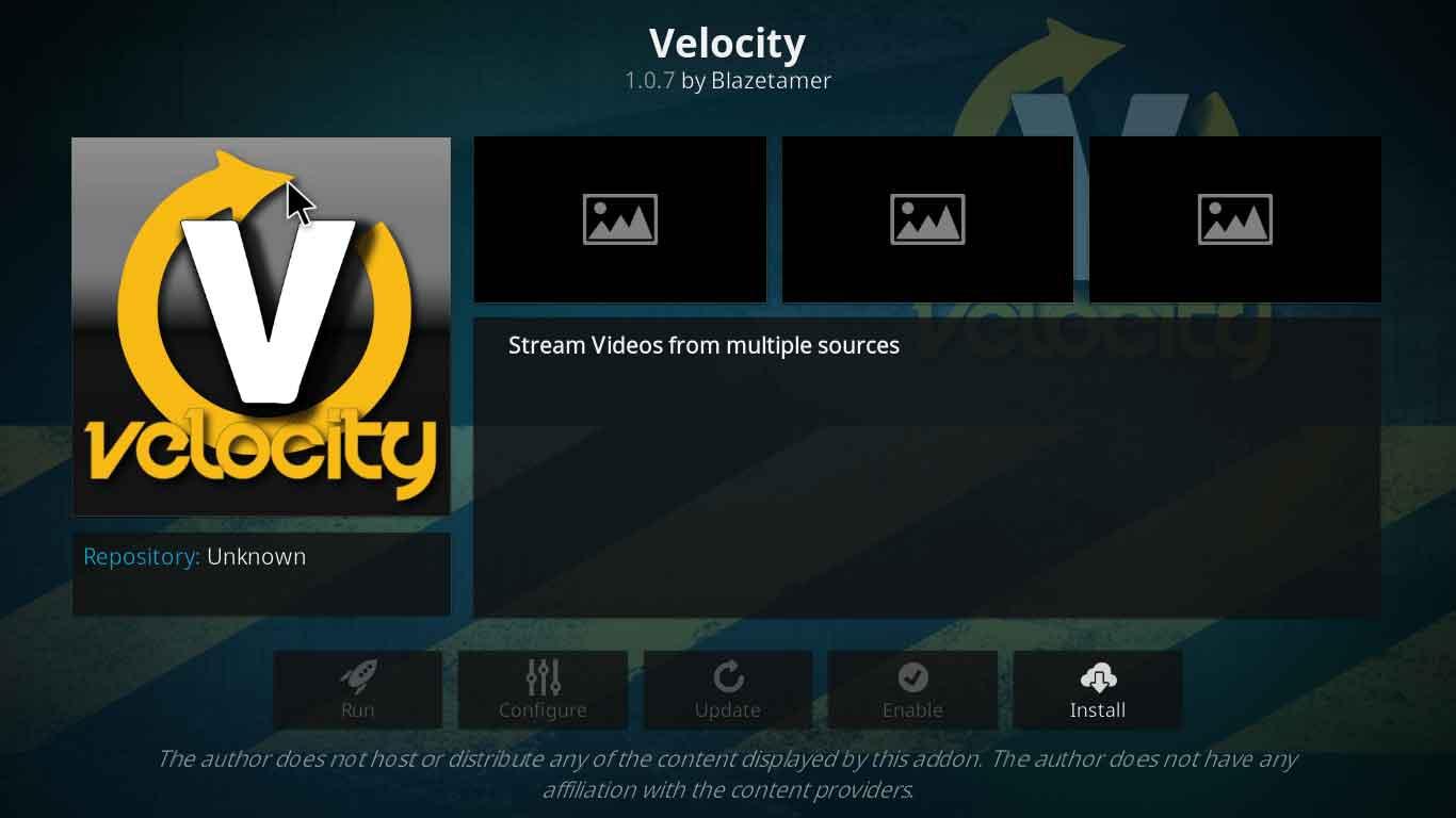 velocity on kodi settings