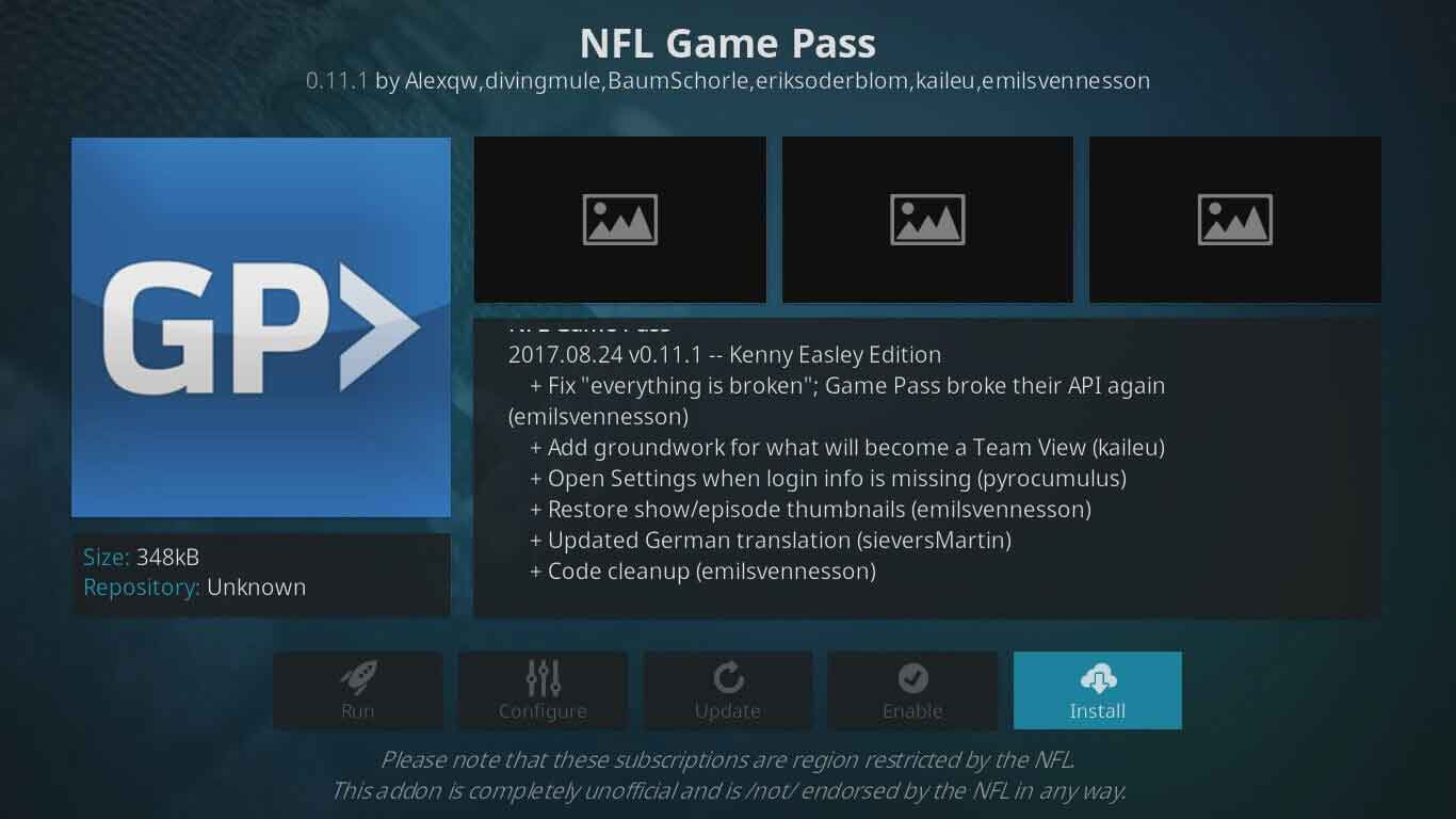 nfl game pass on kodi