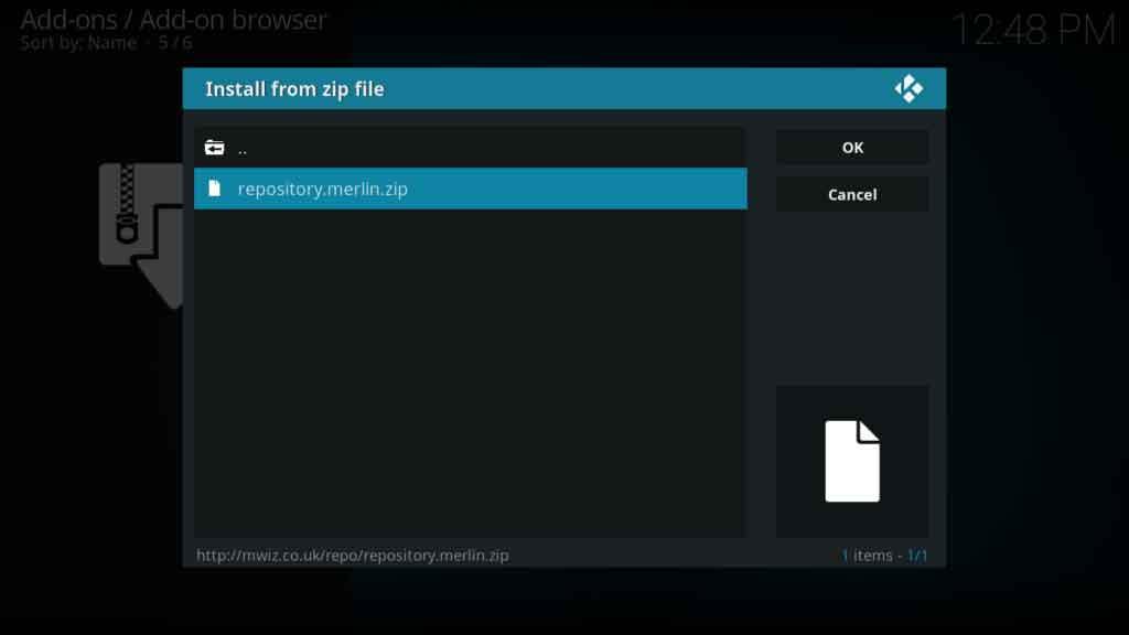 merlin zip file install