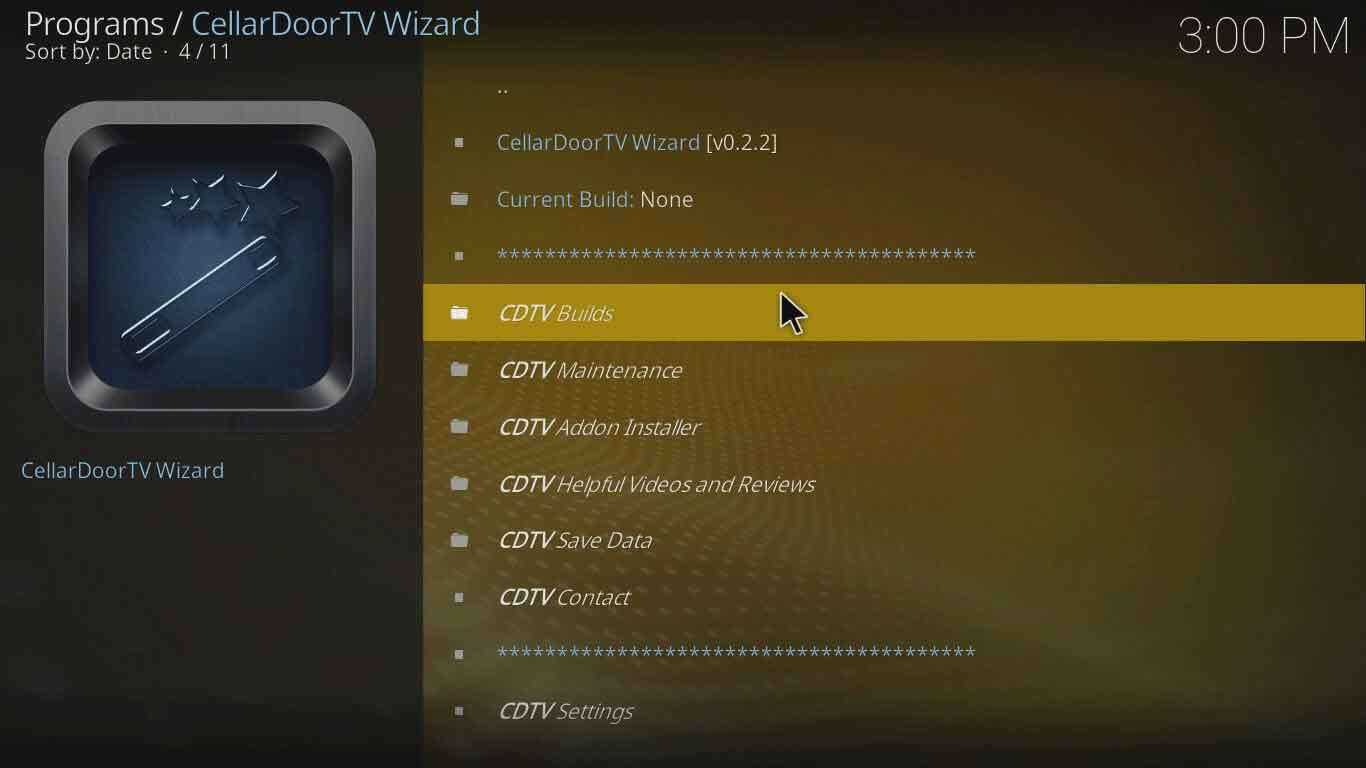 Cellardoor TV Wizard kodi configuration