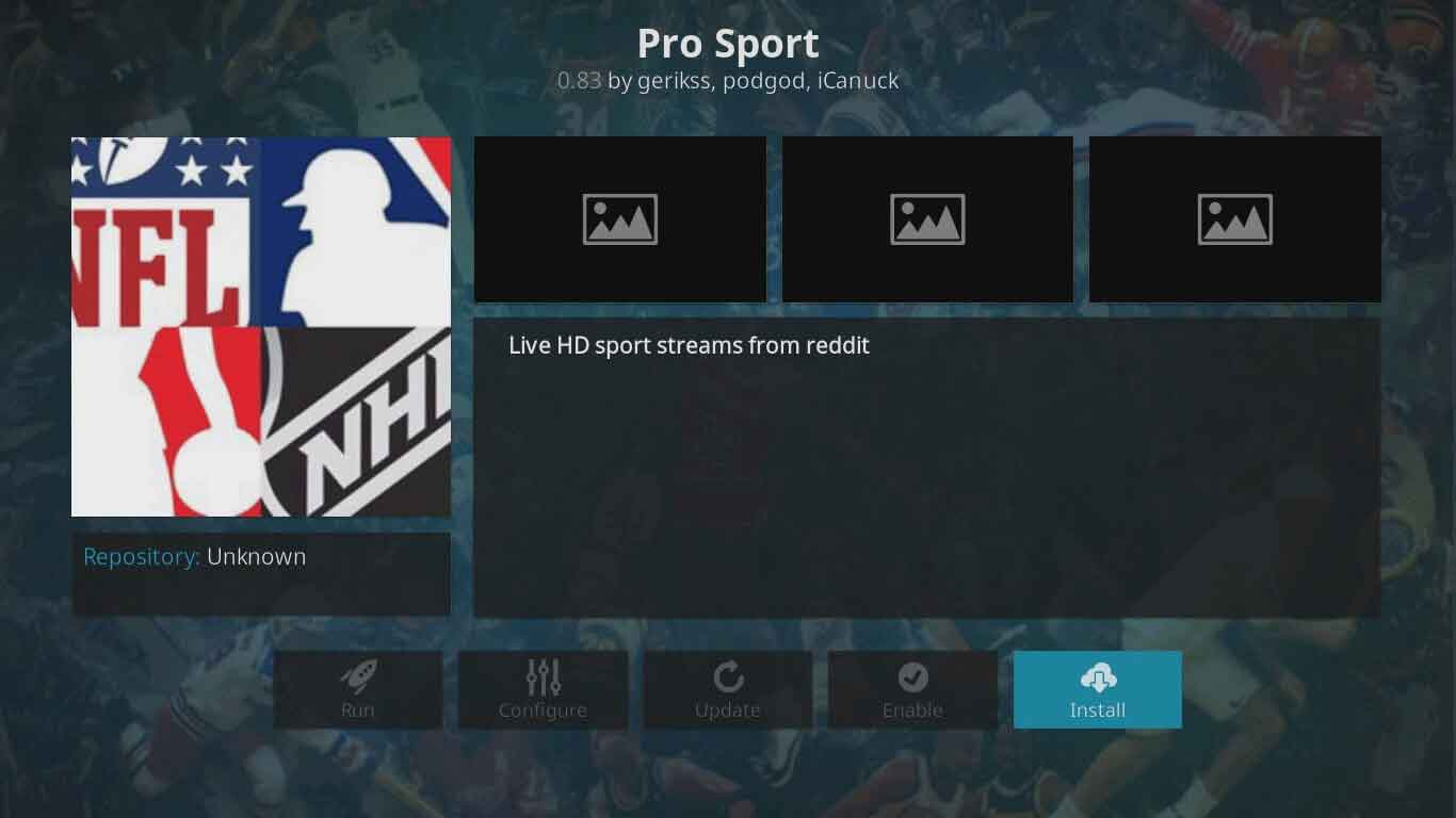 pro sport kodi setup
