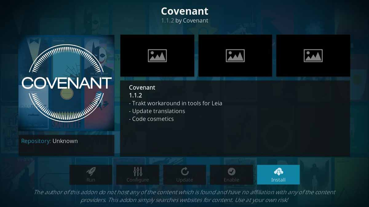 covenant kodi configuration