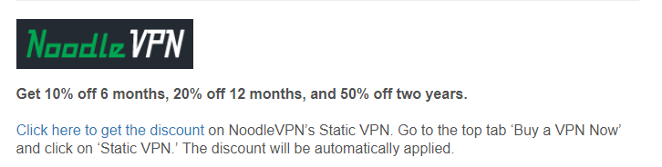 NoodleVPN cyber monday deal