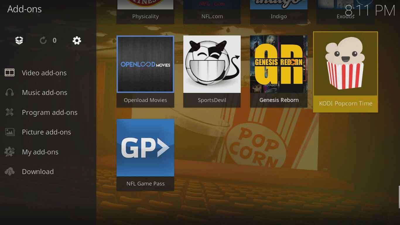 popcorn time kodi configuration