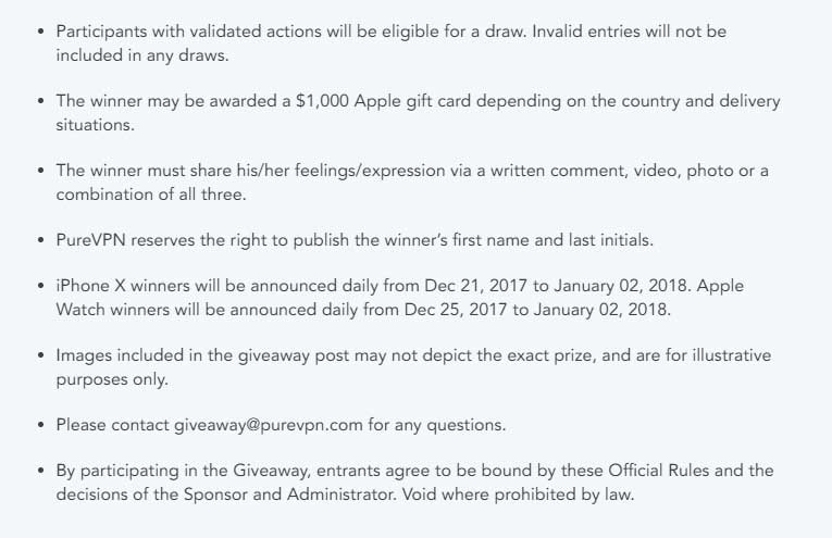 more terms and conditions for iphone-x and apple watch purevpn giveaway