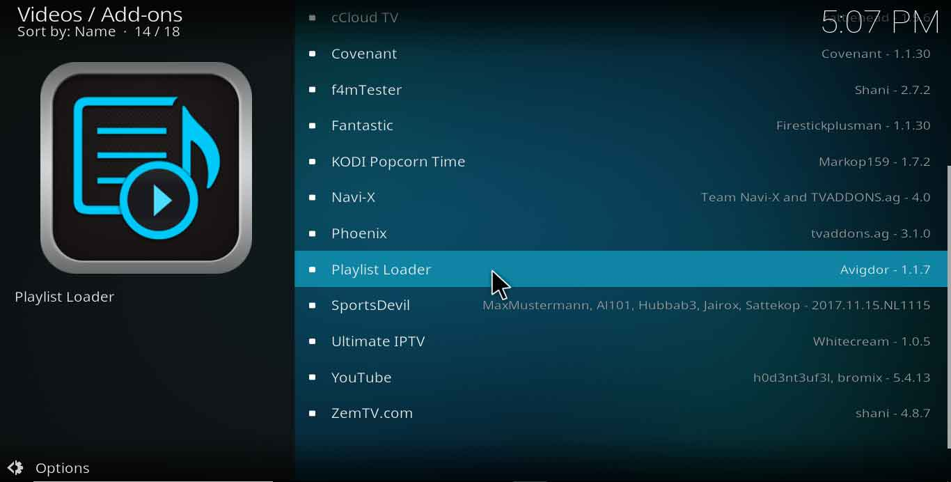 playlist loader kodi